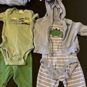 Car onesie set and a Dino onesie set